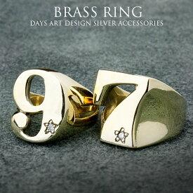 リング ブラス 真鍮 指輪 メンズ レディース ナンバー セブン ナイン 星 スター【 SILVER925 メンズリング ゴールド 指輪 ストーンリング シルバーアクセサリー】【楽ギフ_包装】【あす楽】rgb008