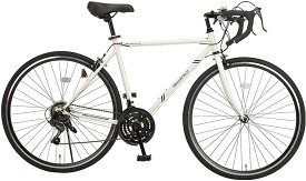 【MONOFIELD】 ロードバイク 700C 自転車 シマノ製21段変速 サムシフター 2WAYブレーキシステム搭載 ホワイト モノフィールド