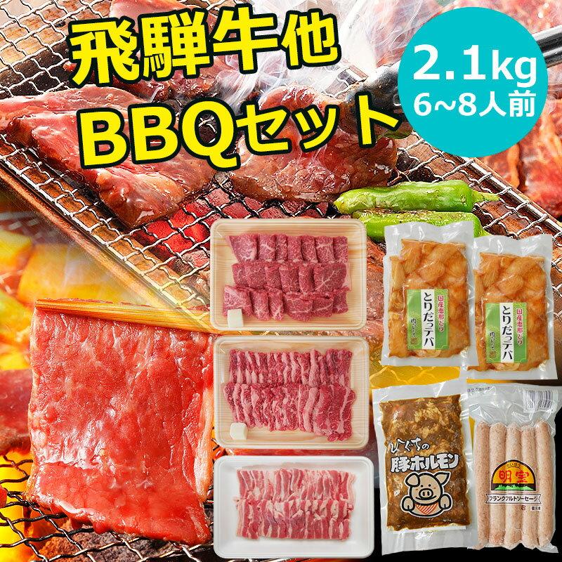 【送料無料】飛騨牛 国産肉 バーベキューセット 2.1kg 幹事 主催 おすすめ 6人〜8人 BBQ 2kg 以上 イベント 焼肉パーティー 食材 生肉 焼肉セット