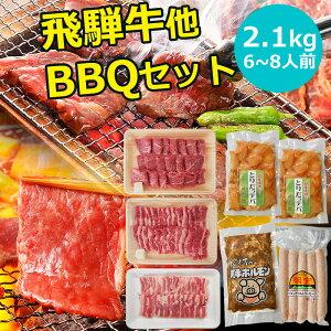 BBQ2.1kgセット 飛騨牛 国産豚肉 国産若鶏 ホルモン フランク バーベキューセット 約6〜8人用 送料無料 まとめ買い BBQ バーベキュー 幹事 主催 2kg 2キロ以上 イベント 肉 焼肉セット 焼肉 豚肉