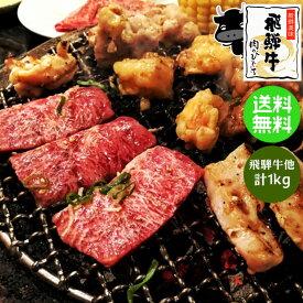 送料無料 飛騨牛 国産豚肉 バーベキューセット 1kg (冷凍)約4〜5人分カルビ もも・かた肉(赤身) 豚バラ 豚ロースBBQ ブランド 和牛 食材 生肉 焼肉 お試し 高山 ランキング