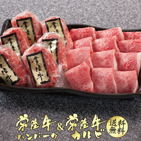 お中元 ギフト 和牛 常陸牛 ハンバーグ 焼き肉 カルビ セット 化粧箱入り 焼肉セット 肉