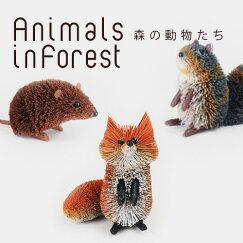 送料無料アニマルオブジェ森の動物たちリス・キツネ・ネズミ3点セットブリ材天然素材手づくりハンドメイド