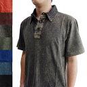 ■メンズ半袖ポロシャツ(ストーンウオッシュ) 【アジアン ファッション 夏 シャツ 半袖 エスニック  メンズ …