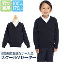 スクールセーター 子供 子供用 女の子 男の子 キッズ ウール混 洗える ネイビー 紺 無地 制服 セーター Vネック 100 1…