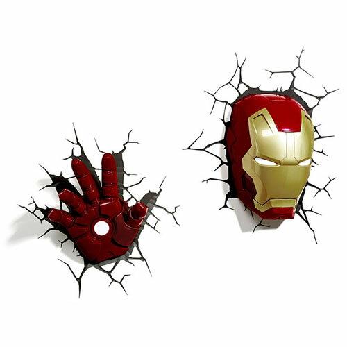 Iron Man 3 3D Deco Light Mask & Hand SET アイアンマン3 3Dデコライト マスク ハンド セット ひび割れステッカー ウォールライト LED 照明 壁ライト 立体 アメコミ MARVEL マーベル コードレス おしゃれ インテリア 雑貨 アベンジャーズ AVENGERS