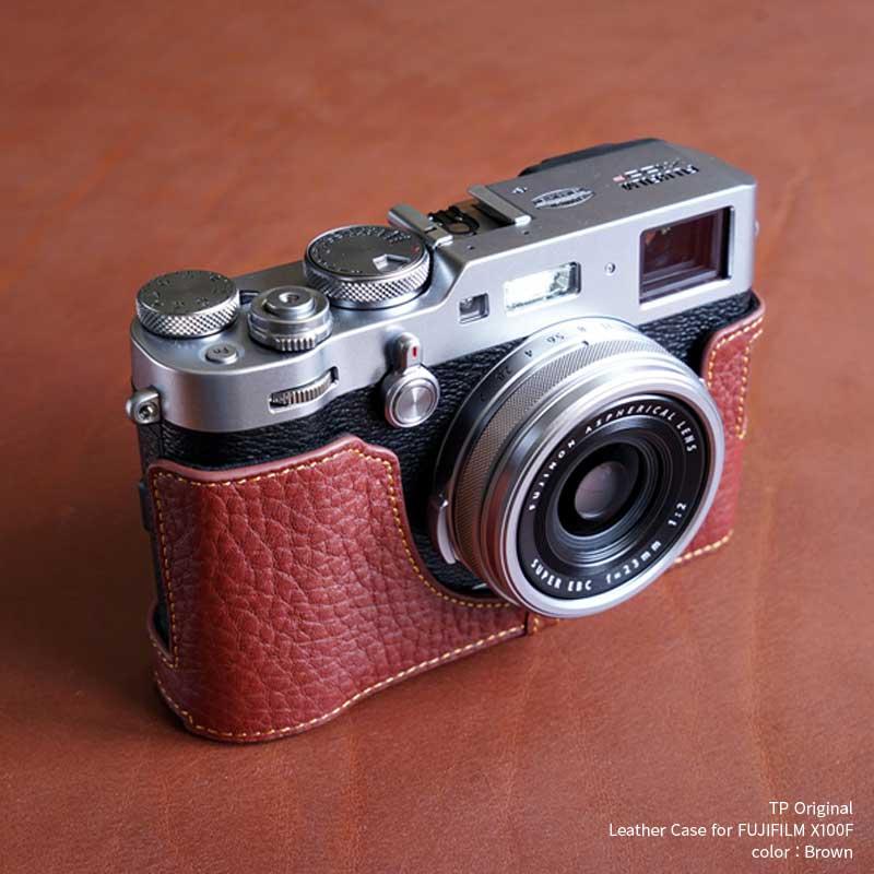 TP Original Leather Camera Body Case for FUJIFILM X100F Brown ブラウン フジフイルム X100F 本革 カメラケース レザーケース おしゃれ Xプレミアムコンパクトカメラ ケース 速写ケース EZ Series 底面開閉 バッテリー交換可能 フジフィルム 富士フイルム TB06X100F-BR