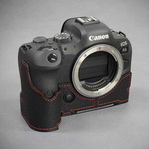 LIM'S Canon EOS R6 専用 イタリアンレザー カメラケース Black Red stitch ブラック レッド ステッチ メタルプレート 高級 高品質 本革 おしゃれ かっこいい CN-EOSR6BK リムズ 日本正規販売店