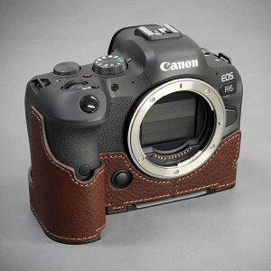 LIM'S Canon EOS R6 専用 イタリアンレザー カメラケース Brown ブラウン メタルプレート 高級 高品質 本革 おしゃれ かっこいい CN-EOSR6BRリムズ 日本正規販売店