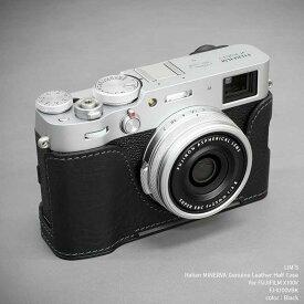 LIM'S FUJIFILM X100V 専用 イタリアンレザー カメラケース Black ブラック おしゃれ 本革 ケース メタルプレート リムズ 日本正規販売店 FJ-X100VBK