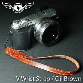 『クリックポスト発送!送料無料』 TP Original/ティーピー オリジナル V Leather Camera Wrist Strap V型おしゃれ本革カメラリストストラップ(ヒモタイプ) Oil Brown(オイル ブラウン)