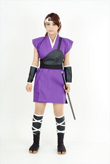 くノ一(くの一・女忍者)衣装・ミニスカ(紫)3kunoichiwear(womanninja)