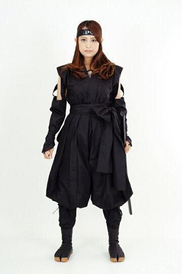 くノ一(くの一・女忍者)装束(黒・黒)1