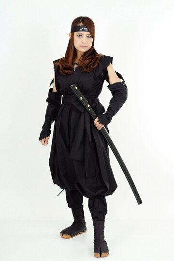 くノ一(くの一・女忍者)装束(黒・黒)2