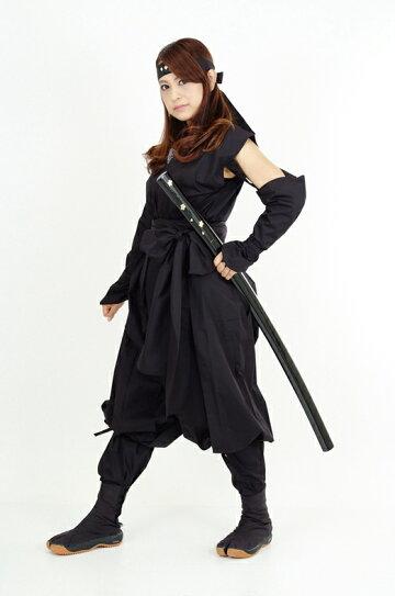 くノ一(くの一・女忍者)装束(黒・黒)3