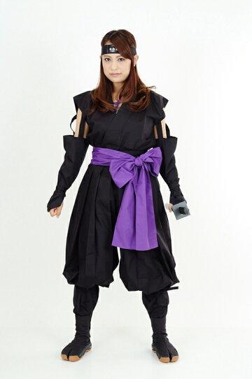 くノ一(くの一・女忍者)装束(黒・紫)2