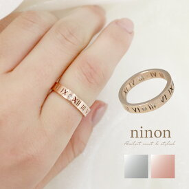 指輪 レディース リング ローマ デザイン ポイント ダイヤ シルバー ピンクゴールド ステンレス 金属アレルギー ワイドリング 17号 かわいい おしゃれ 大人可愛い シンプル 可愛い