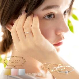 リング 10k ダイヤモンド 一粒 レディース ワンポイント 10金 ピンキーリング ピンクゴールド ファランジリング 指輪 ゴールド シルバー かわいい おしゃれ 大人可愛い シンプル 可愛い