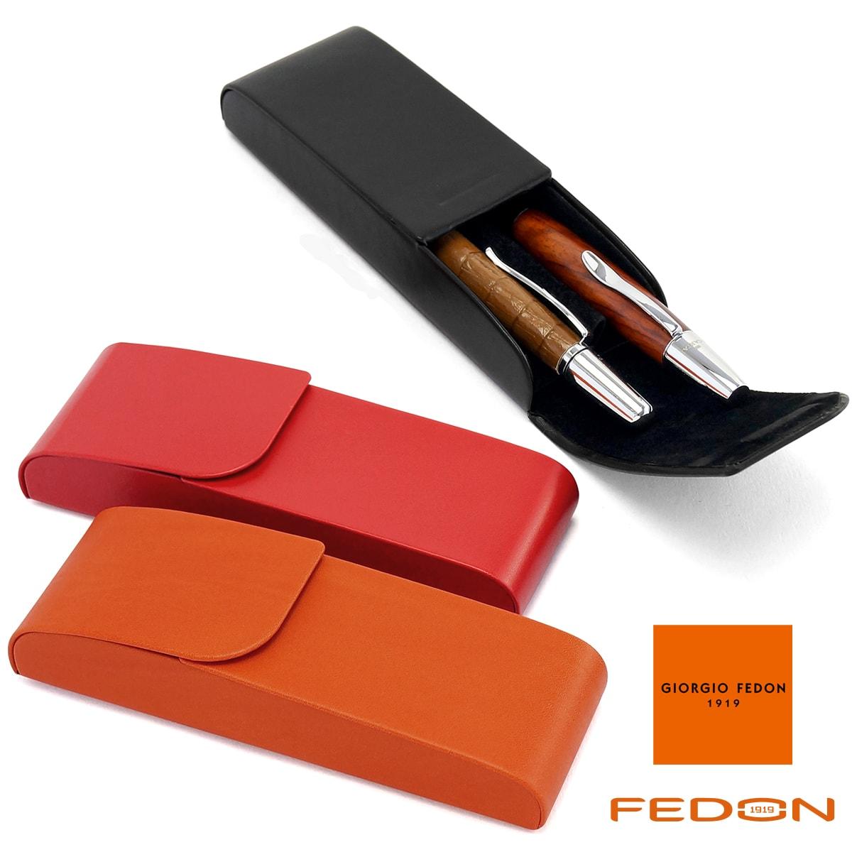 【送料無料】 【イタリア製】 ペンケース 筆箱 シンプル おしゃれ メンズ レディース ジョルジオフェドン GIORGIO FEDON スムースシリーズ 2本差し PORTAPENNE-2