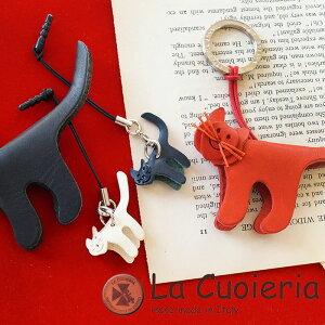 直輸入 レザーストラップ イタリア インポート ラ クオイエリア La Cuoieria ストラップ ミニ ネコ 猫 レディース メンズ スマホ 携帯 CE886