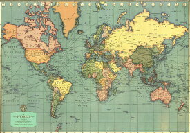 【イタリア製】 ポスター おしゃれ ヴィンテージ レトロ インテリア 世界地図 古地図 大きい ISTITUTO FOTOCROMO ITALIANO / I.F.I ポスター/ラッピングペーパー 50×70 MONDO MODERNO CR074