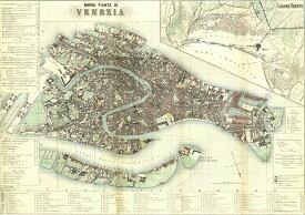 ポスター イタリア 地図 古地図 直輸入 イタリア製 おしゃれ ヴィンテージ レトロ インテリア 世界地図 大きい ISTITUTO FOTOCROMO ITALIANO / I.F.I ポスター/ラッピングペーパー 50×70 MAPPA VENEZIA CR075