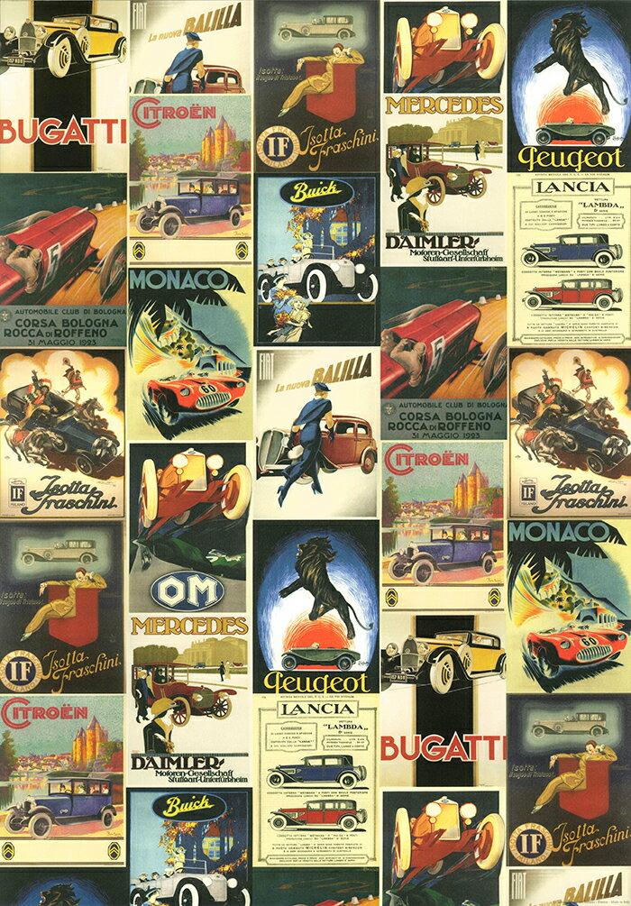 【イタリア製】 ポスター おしゃれ 車 ヴィンテージ レトロ 大きい ISTITUTO FOTOCROMO ITALIANO / I.F.I ポスター/ラッピングペーパー 50×70 VINTAGE CARS CR049