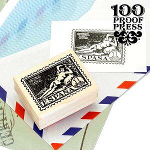 ラバースタンプ 100プルーフプレス 100 Proof Press #4788 切手/スペイン Goya Nude Post はんこ アンティーク クラシック ヴィンテージ 封筒 メッセージカード ゴヤ