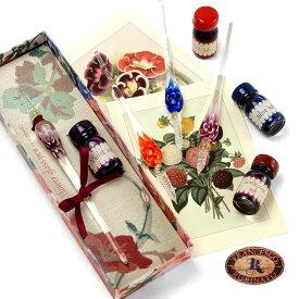 イタリア製 ガラスペン RUBINATO おしゃれ ギフト 花 ヴェネチアングラス ルビナート FLOWER ガラスペン + インクセット 7783/B 母の日 敬老の日 クリスマス 誕生日
