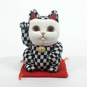 送料無料 招き猫 風水 縁起 可愛い [柿沼人形] 招き猫 江戸木目込み 招き猫 風水(小) 市松柄