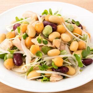 乳酸菌が入った蒸しサラダ豆 6袋 北海道産大豆 惣菜 カネハツ食品 お弁当のおかず 蒸し豆 ミックス豆 ポスト投函便