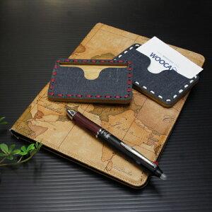 送料無料 財布 ファッション小物 デニムと木の組み合わせが魅力的 名刺ケース(Denim Combination) WOOCA アルファ企画