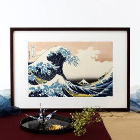 送料無料 職人の手により手摺りしました 葛飾北斎 木版画「神奈川沖浪裏」額装品