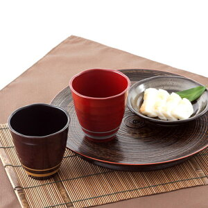 送料無料 日本酒器 記念日の贈り物に 和らぎフリーカップペア ライン(黒・吟朱) 東出漆器店