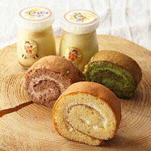 お菓子 ミルク王国セット〔内灘ろーる(プレーン・抹茶・ショコラ)、ポンポンプリン(さつまいも・カボチャ)各3個〕