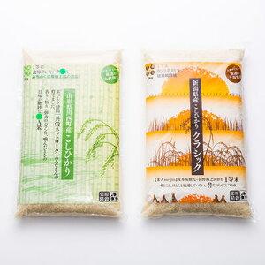 こしひかり食べくらべセットB 【5kg×2袋】 新潟と山形県川西町の1等米「こしひかり」