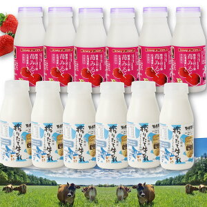 十勝搾りたてジャージー牛乳&苺みるく S12本 セット 牛乳 飲料 ミルク ジャージー牛乳 搾りたて 北海道産 いちごミルク 乳飲料 朝食 おやつ カルシウム 十勝ミルキー 十勝 北海道 Jersey Brown
