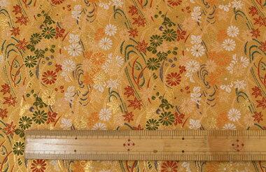 日本製帯地洛レイ胴入流水菊紅葉黄土72cm巾