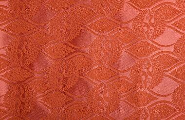 日本製帯地桂無金上雲立涌に向鶴珊瑚色72cm巾