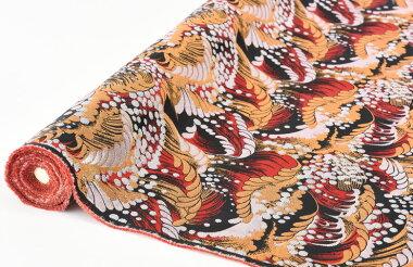 日本製帯地寿三丁2号荒波黒赤色72cm巾【生地布】