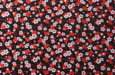 日本製帯三丁サビハート黒72cm巾【生地布】