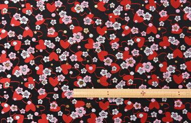 日本製帯地三丁サビハート黒72cm巾【生地布】