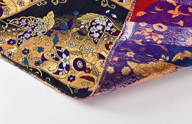 日本製帯地寿四丁4号紫蝶黒金色72cm巾【生地布】