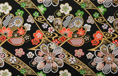 日本製帯地洛レイ四丁2号大小梅ちらし黒色72cm巾【生地布】