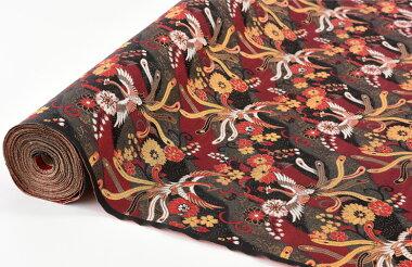 日本製帯地洛レイ四丁2号鳳凰黒/赤色72cm巾【生地布】