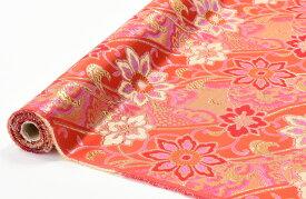 日本製帯地 三丁サビ からくさ 朱赤色 72cm巾【生地 布】