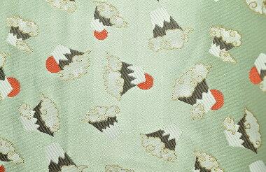 日本製帯地洛レイ胴入富士づくし白緑72cm巾