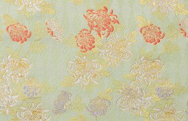 日本製帯地洛レイ胴入菊白緑(びゃくろく)色72cm巾【生地布】