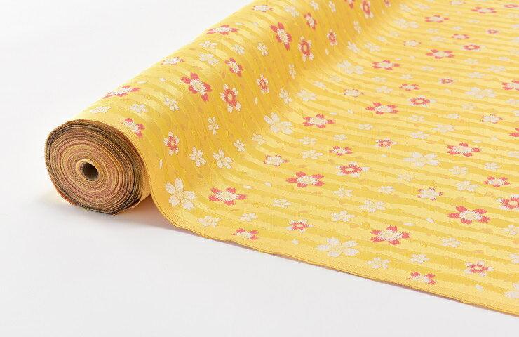 日本製帯地 洛レイ胴入 桜 黄色 72cm巾【生地 布】