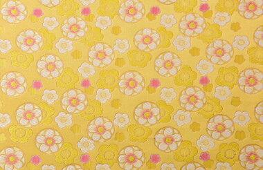 日本製帯地洛レイ胴入満開丸梅黄色72cm巾【生地布】